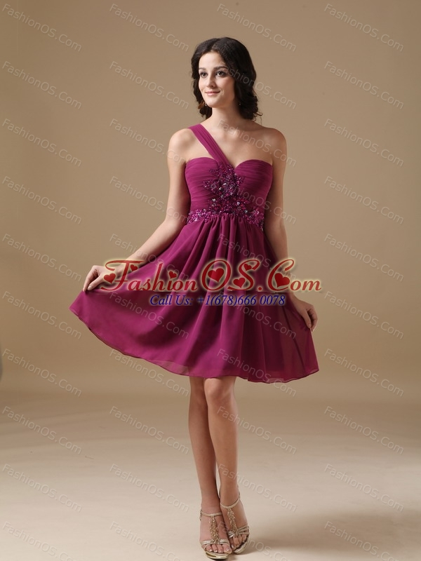 Purple A-line One Shoulder Beading Dama Dresses for Quinceanera ...