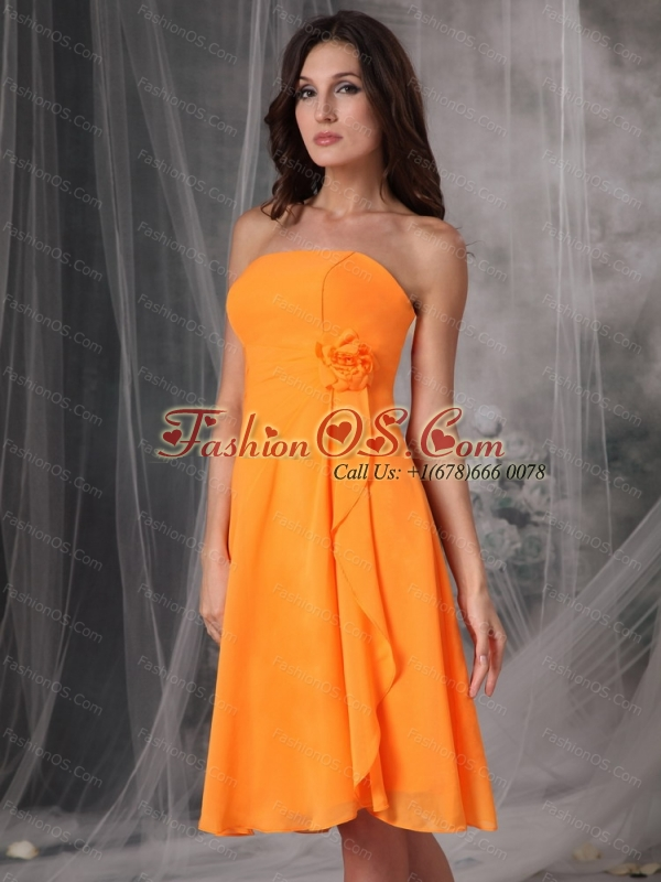 Simple Orange Empire Strapless Handle Flowers Dama Dress On Sale