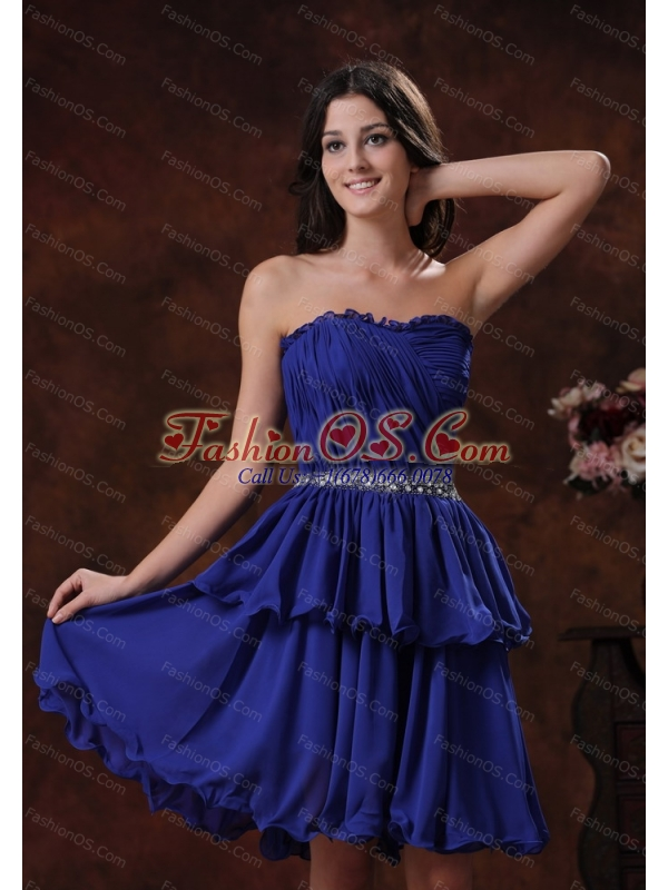 Discount Royal Blue Short Dama Dresses for Quinceanera With Beaded