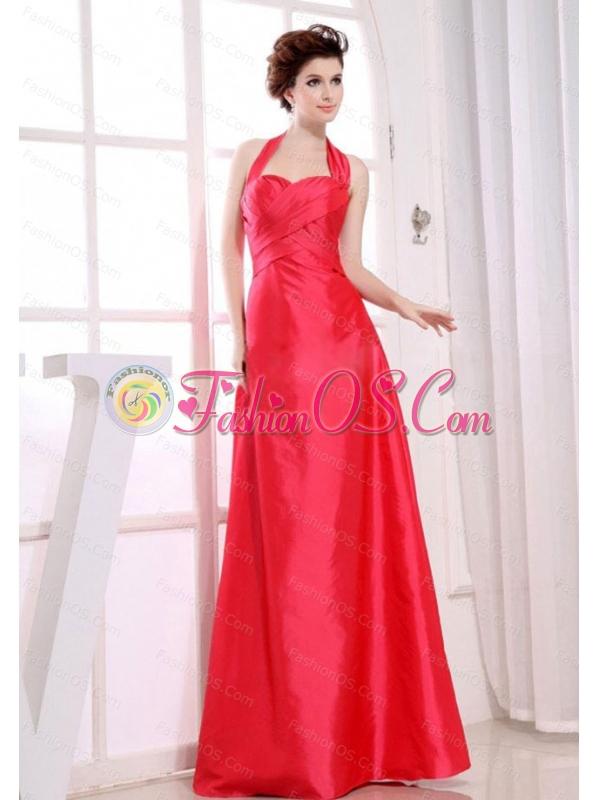 Halter Red Floor-length Taffeta Dama Dress 2013