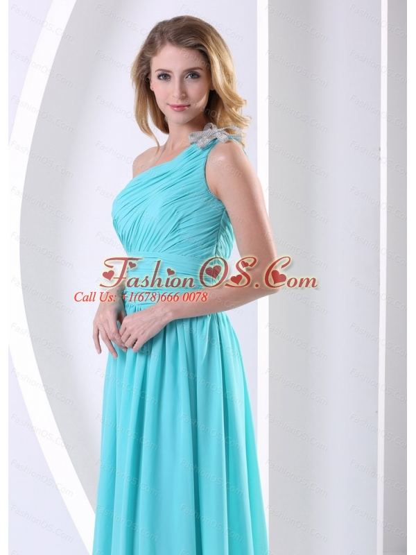 Long One Shoulder Ruched Bodice Aqua Blue Dama Dress For Quinceanera