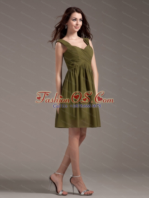 Olive Green Straps Chiffon Short Dama Dress