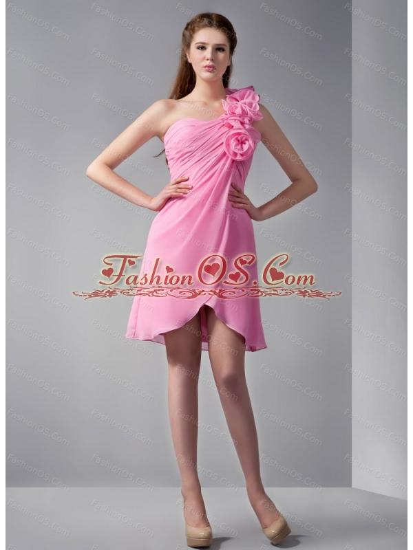 Shoulder Hand Made Flower Rose Pink Dama Dress