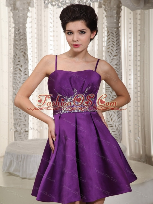 Short Purple Pricess Straps Beading Dama Dresses For