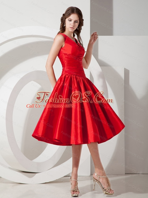 V-neck Red Knee-length Taffeta Discount Dama Dress