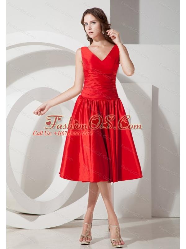 V-neck Red Knee-length Taffeta Discount Dama Dress