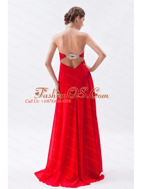 2013 Spring Beading Red Brush Train Dama Dress