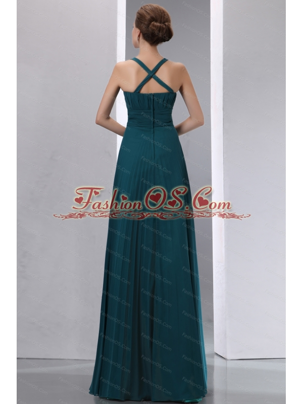 2013 Summer Square Peacock Green Pleat Dama Dress