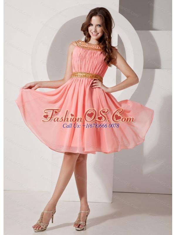 chiffon bateau pink dress