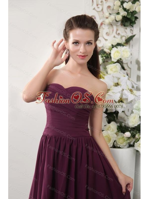 Dark Purple Short Sweetheart Chiffon Dama Dress