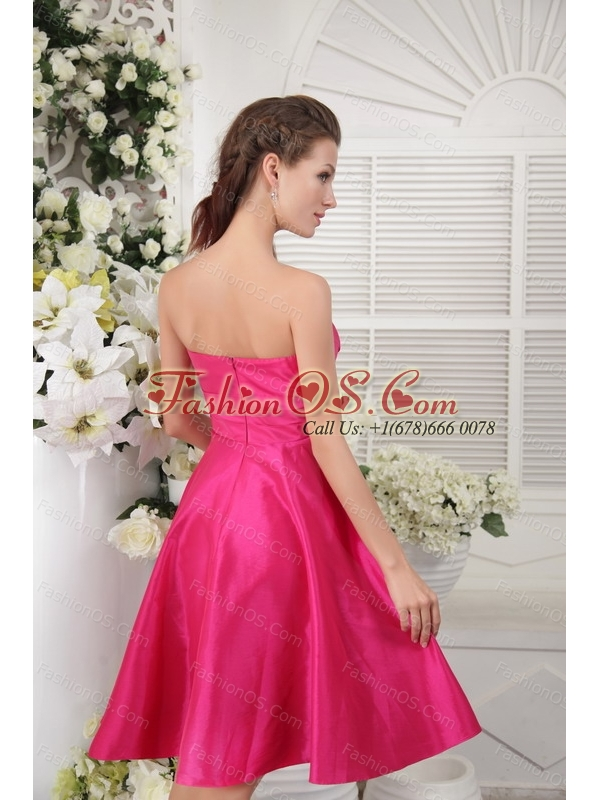Hot Pink Strapless Taffeta Dama Dresses For Quinceanera