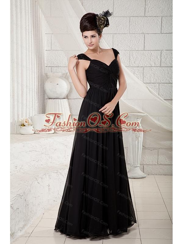 Long Black Empire V-neck Chiffon 2013 Dama Dresses