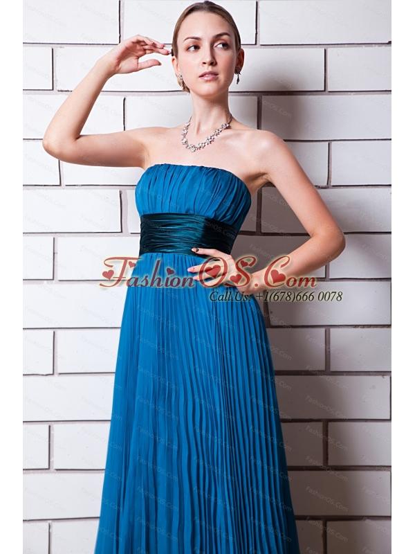 Pleat Empire Floor-length Organza Blue Dama Dress