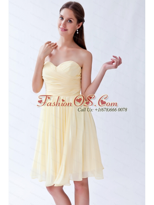 Pleats Sweetheart Light Yellow Knee-length Dama Dress