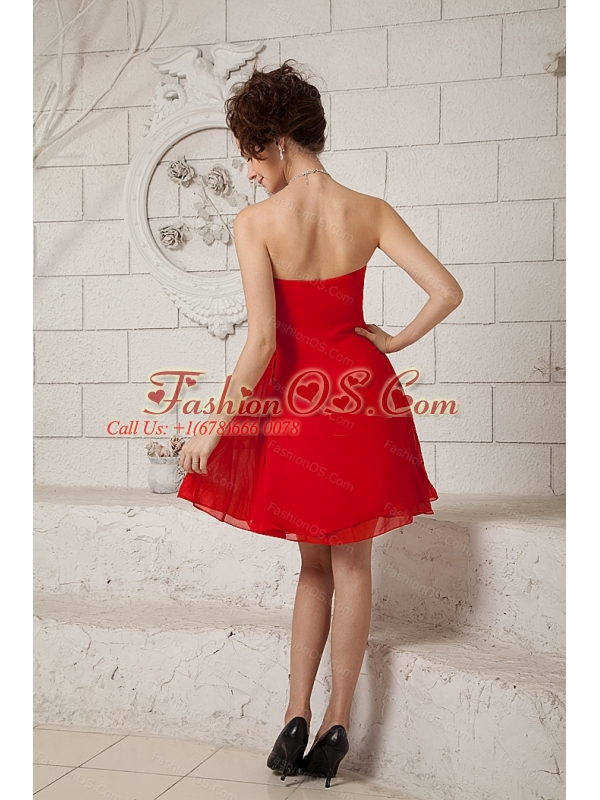Red Empire Short Sweetheart Chiffon Dama Dresses for Quinceanera