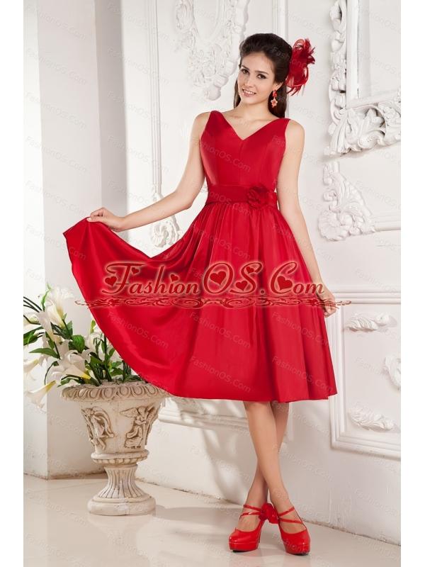 Red Short V-neck Taffeta Hand Made Flower Dama Dress On Sale