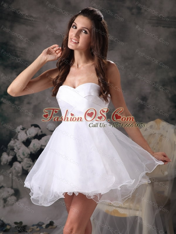 Short White A-line Sweetheart Dama Dresses for Quinceanera- $119.59