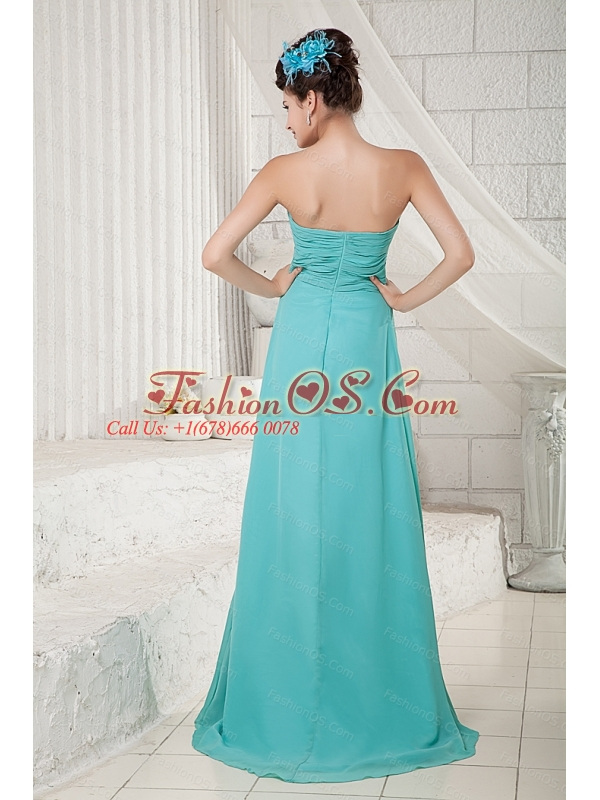 Turquoise Empire Sweetheart Chiffon Ruch 2013 Dama Dresses