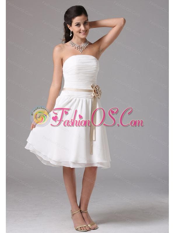 White Strapless Sash Ruched Cheap Dama Dress- $106.55