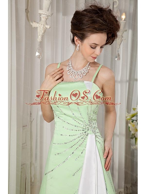 Yellow Green Straps Satin Beading 2013 Dama Dresses