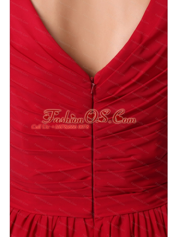 Affordable Ruched Empire V-neck Mini-length Dama Dress