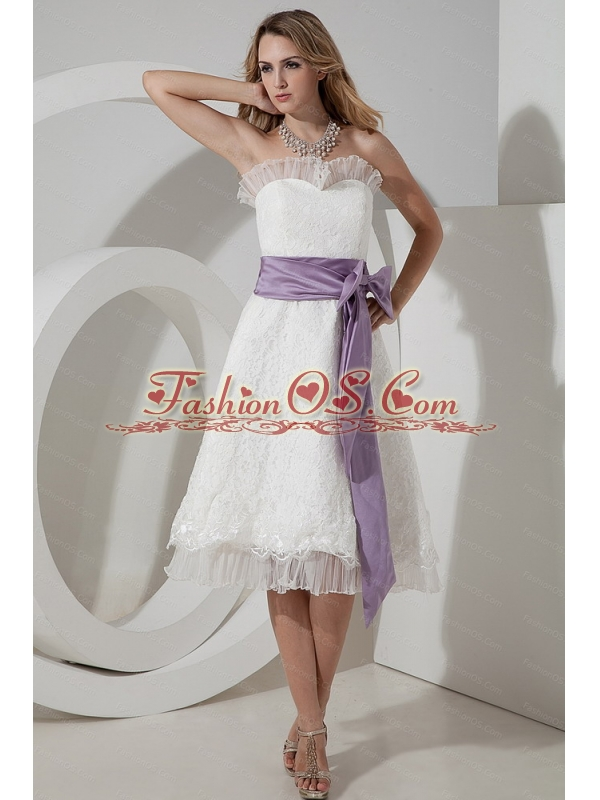 beautiful Lace Bow A-line / Princess Tea-length Dama Dress