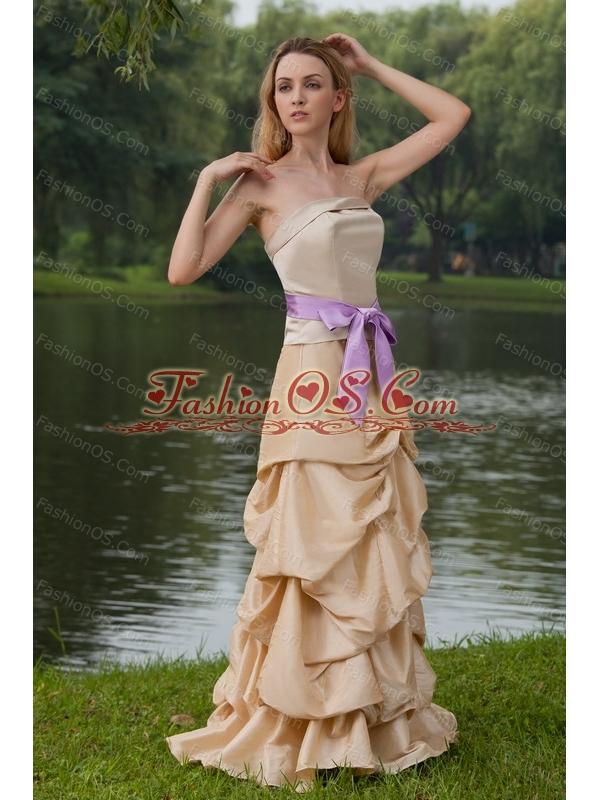 Champagne Strapless Column Sash Cheap Dama Dress