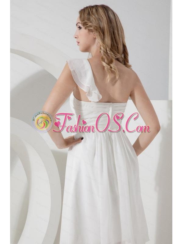 Elegant One Shoulder White Knee-length Dama Dress 2013