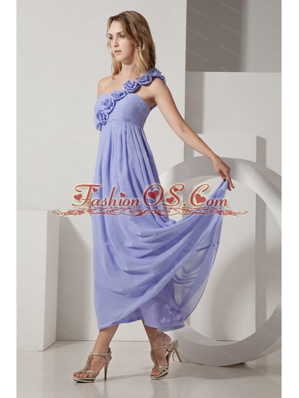 fashionable Hand Made Flowers One Shoulder Ankle-length  Dama Dress