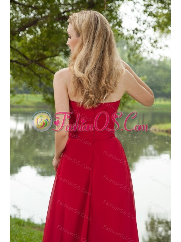 Halter Chiffon Ruch Brush Train Long Dama Dress