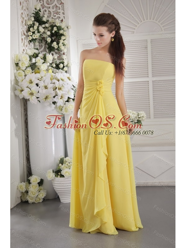 Hand Made Flowers Yellow Strapless Dama Dress