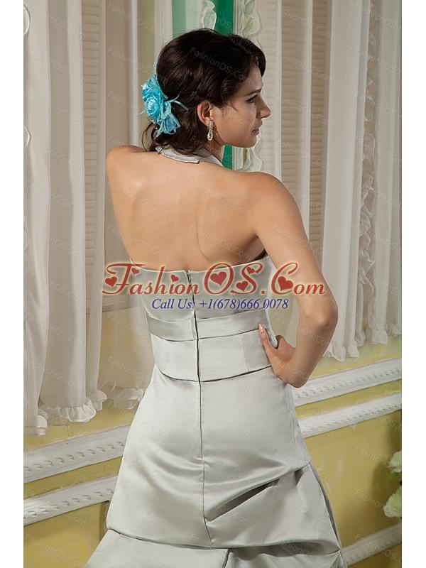 Long Grey Column Halter Satin Bow Dama Dress
