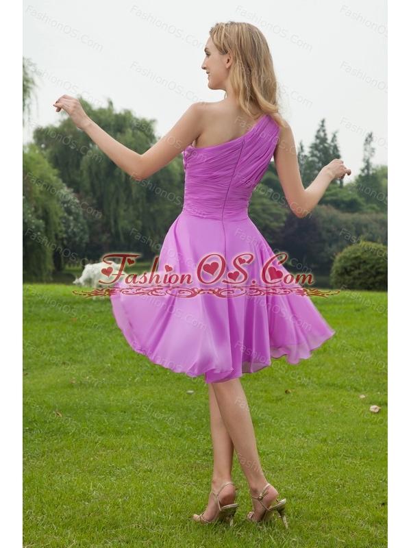 One Shoulder Chiffon Ruch Lavender Dama Dress 2013