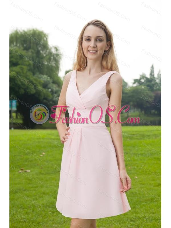 Pink V-neck Mini-length Ruch Chiffon Short Dama Dress