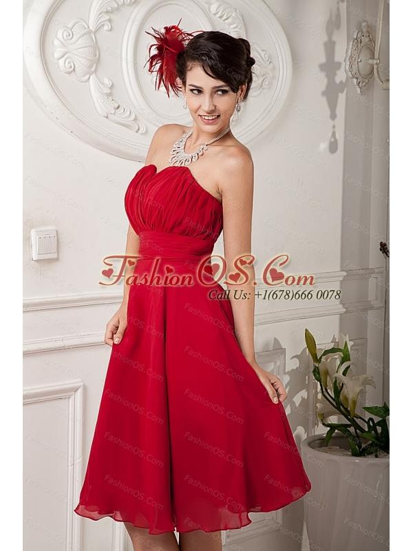 Red Sweetheart Chiffon Ruch 2013 Short Dama Dress