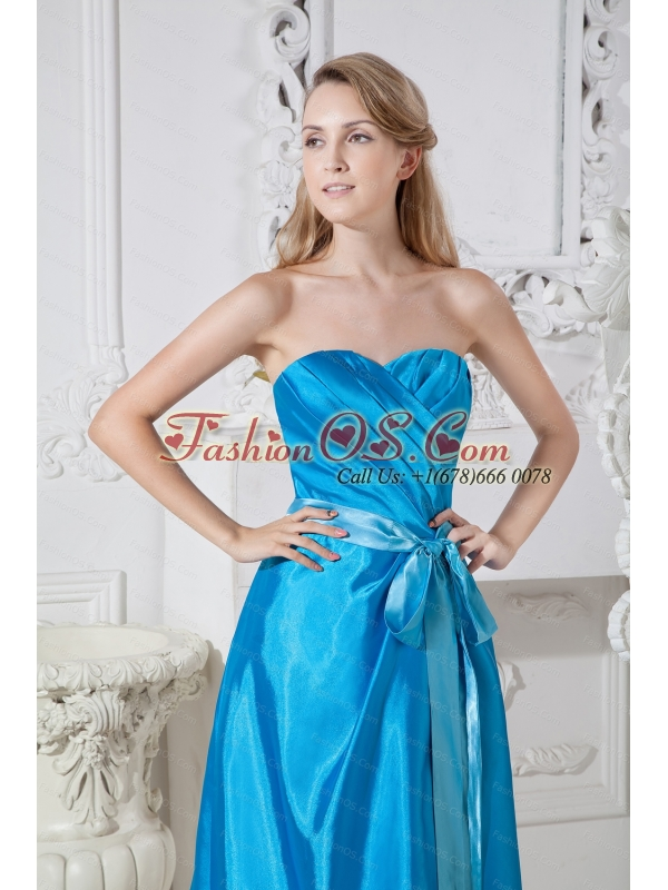 Ruch and Bows Sweetheart Empire Blue Taffeta Dama Dress