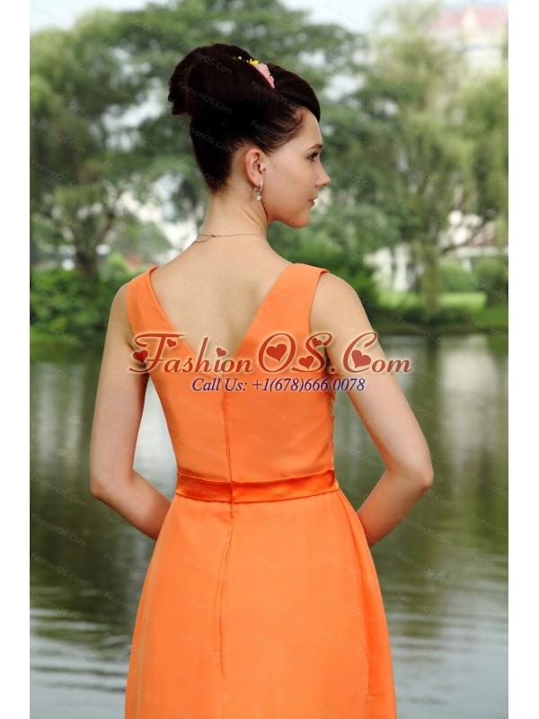 Ruch V-neck Empire Orange Dama Dresses for juniors