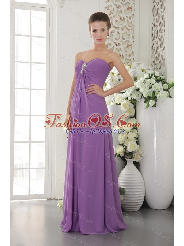 Sweetheart Lavender Chiffon Beaded Dama Dresses for Quinceanera