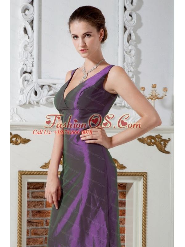 V-neck  Column Floor-length Taffeta Dama Dress