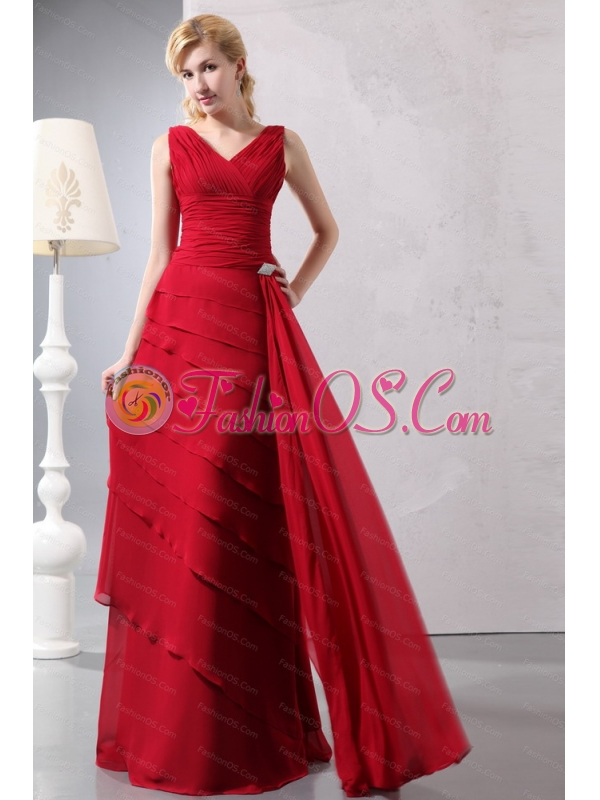 Wine Red V-neck Ruch Beaded Dama Dress On Sale