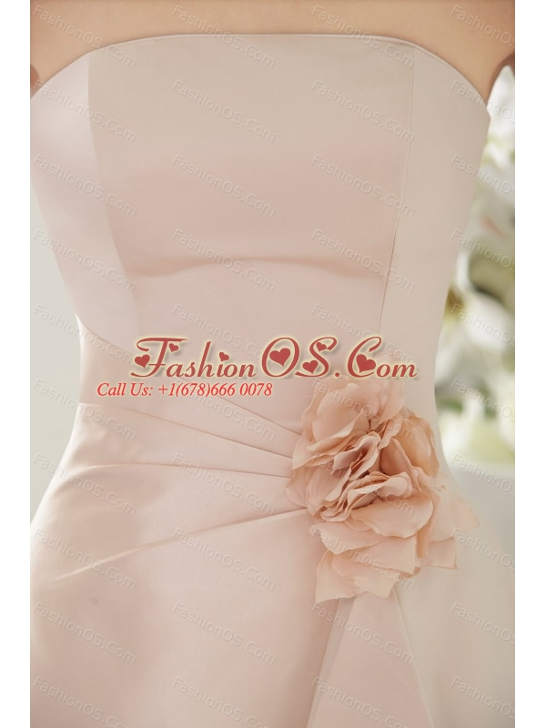 Light Pink Hand Made Flower Strapless Dama Dresses for Quinceanera