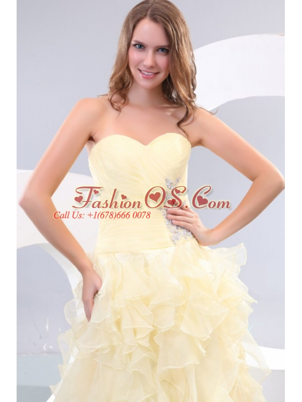 A-line Sweetheart Organza Ankle-length Beading and Ruffles Yellow Prom Dress