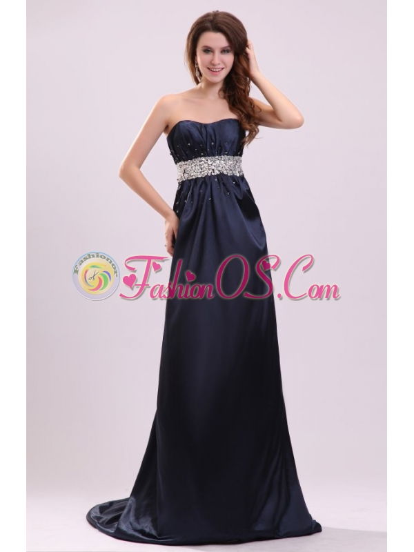 Elegant Empire Strapless Navy Blue Elastic Woven SatiN Beading Prom Dress with Brush Train