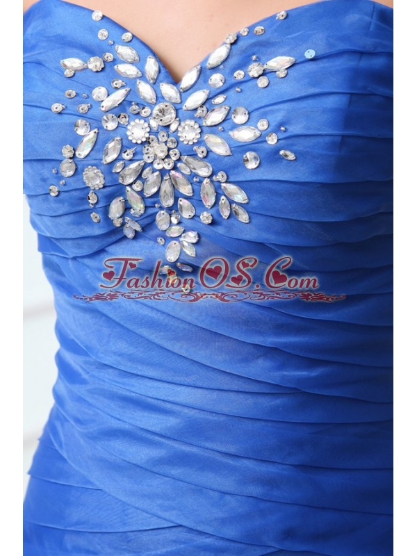 Sexy Blue Mermaid Sweetheart Floor-length Organza 2014 Spring Prom Dress with Beading