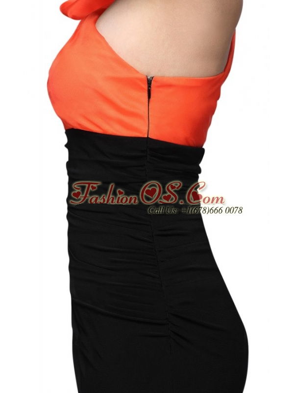 Black and Orange One Shoulder Column High Silt Prom Dress with Train
