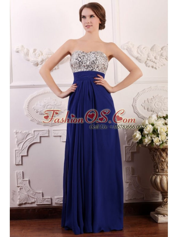 Blue Sweetheart Empire Chiffon Beaded Decorate Brust Prom Dress