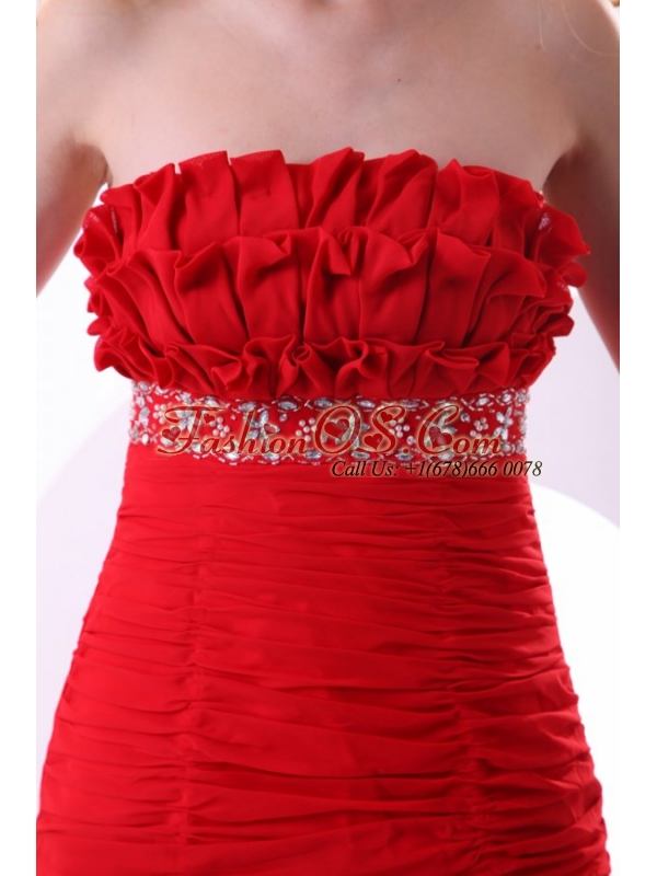 Brand new Column Strapless Ruching Brush Train Chiffon Red Prom Dress