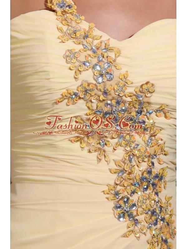 Column One Shoulder Appliques Champagne Watteau Train Prom Dress