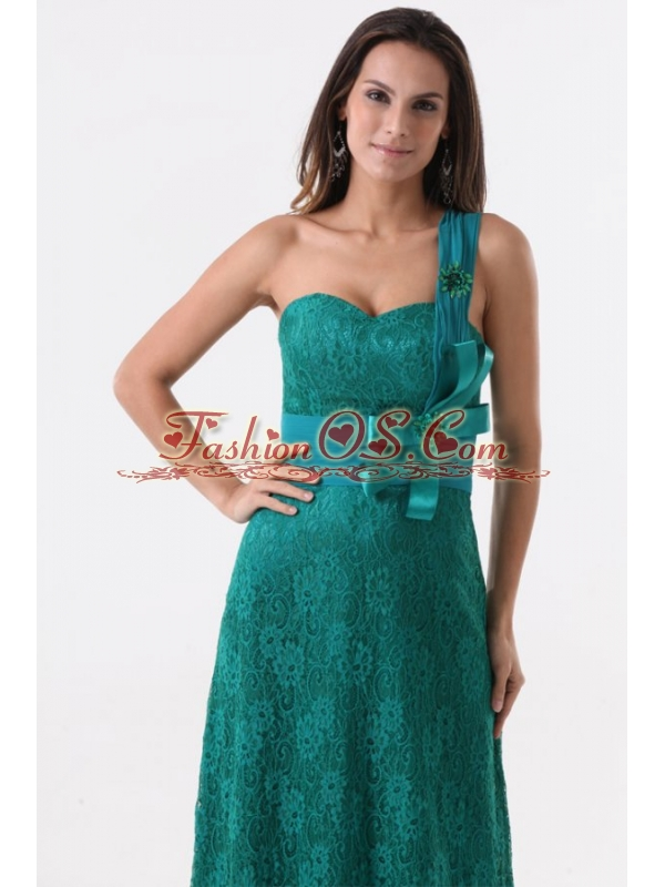 Column One Shoulder Lace Bow Floor-length Turquoise Prom Dress