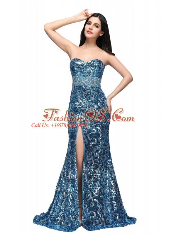 Column Sweetheart Blue Sequins High Slit Brush Train Prom Dress